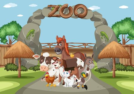 Scene with wild animals in the zoo at day time illustration 向量圖像
