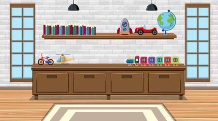 Scene with toys and furnitures in the room illustration