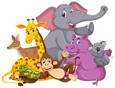Many wild animals smiling on white background illustration