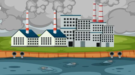 Scene with smoke and dirty water coming out of factory building illustration
