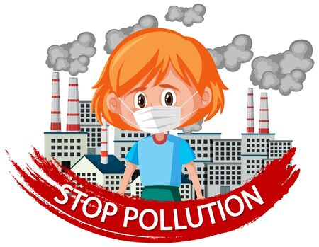 Poster design for stop pollution with girl wearing mask illustration