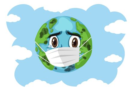 Crying earth wearing mask on blue sky background illustration