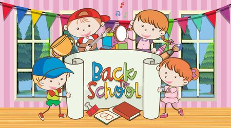 Back to school sign with happy childern illustration 矢量图像