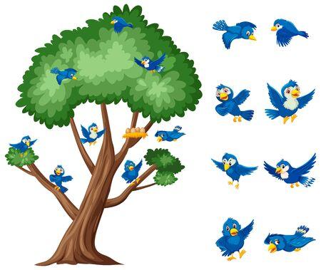 Big tree and blue birds flying on white background illustration