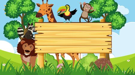 Wooden sign with wild animals in the park illustration