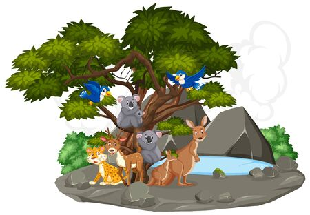 Scene with wild animals by the small pond in forest illustration