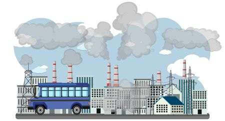 Scene with cars and factory buildings making dirty smoke in the city illustration Standard-Bild - 139179876