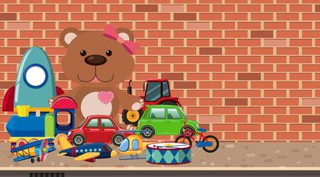 Many toys on the ground illustration