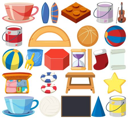 Set of isolated objects of stationeries illustration 矢量图像