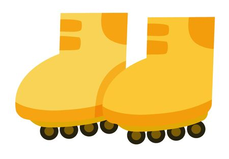 Isolated pair of rollerskates in yellow color illustration