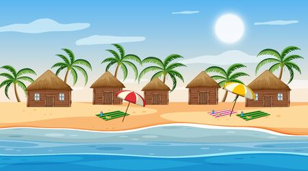 Scene with little huts on the beach at day time illustration