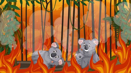 Scene with big wildfire with animal trapped in the forest illustration