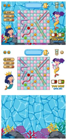 Set of snakes and ladders game with mermaid in ocean illustration
