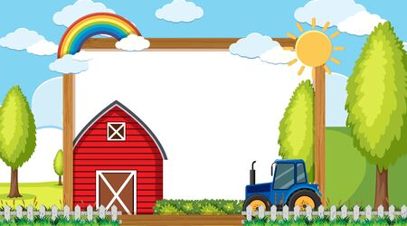 Border template with tractor and barn in background illustration Illustration