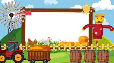 Modello di confine con scena di fattoria nell'illustrazione di sfondo