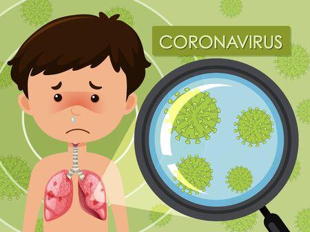 Diagram showing coronavirus with virus cell illustration Ilustración de vector
