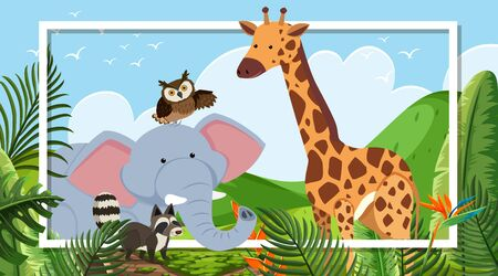 Border template with animal theme in background illustration