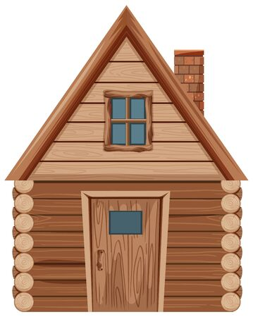 Wooden house with one window and one door illustration