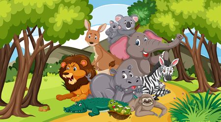 Scene with many wild animals in the park illustration Illustration