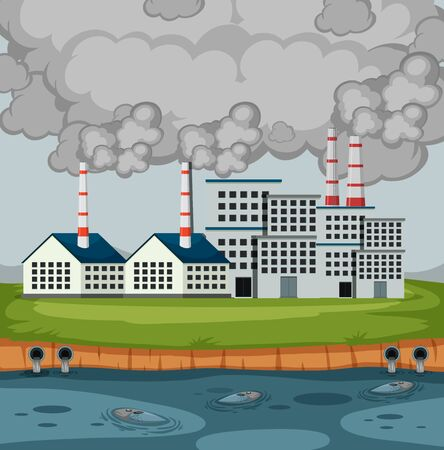 Scene with factory buildings and a lot of smoke illustration Illustration