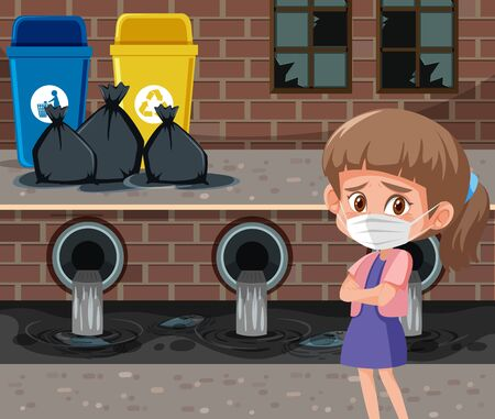 Scene with girl wearing mask in front of trashcans illustration