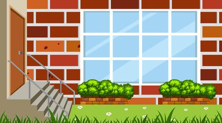 Landscape design with building wall and garden illustration Illustration