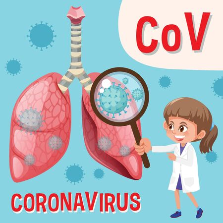 Diagram showing coronavirus with doctor looking at virus cell illustration