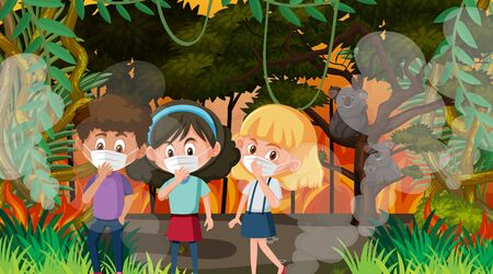 Scene with children and animals in the big wildfire illustration Ilustração