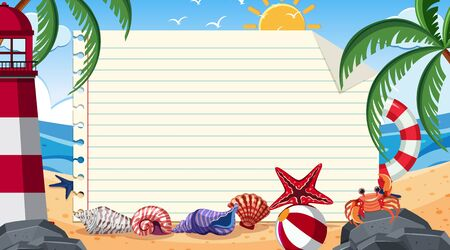 Border template with summer theme in background illustration