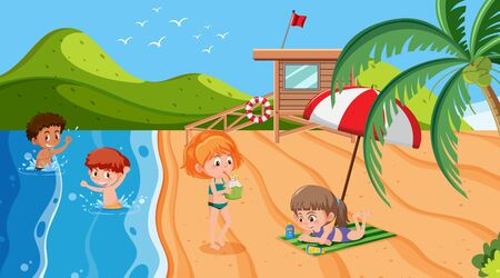 Background scene with children playing on the beach illustration