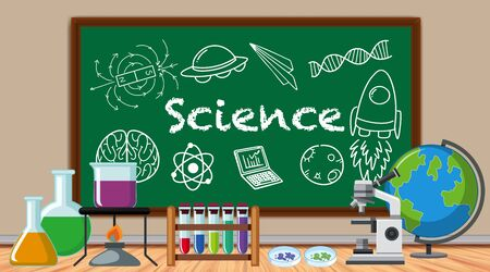 Science sign with many science equipments illustration  イラスト・ベクター素材