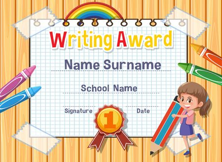 Certificate template for writing award with girl writing in background illustration
