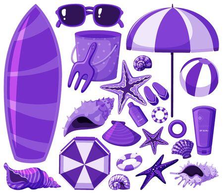 Isolated beach items set in purple illustration