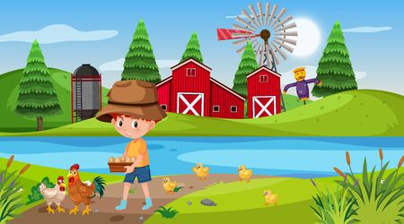 Farm scene with boy and chickens illustration