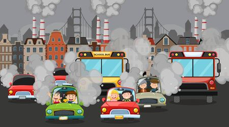 Scene with cars and factory buildings making dirty smoke in the city illustration Standard-Bild - 139183186