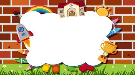 Border template with school items background illustration
