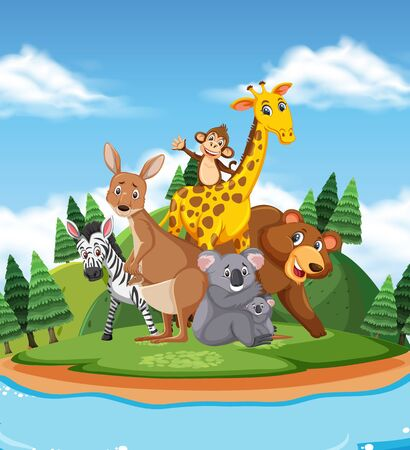 Scene with many wild animals in the park illustration Vector Illustration