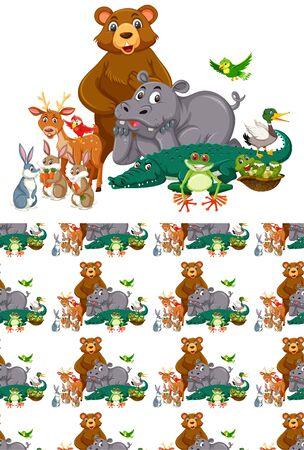 Seamless background design with wild animals illustration  イラスト・ベクター素材