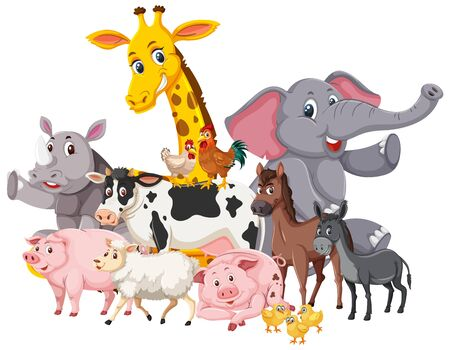 Many wild animals and farm animals on white background illustration