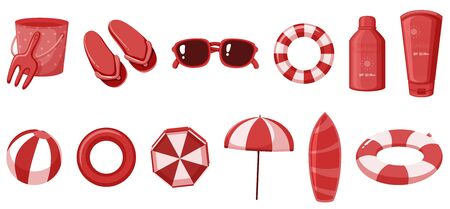Isolated summer items in red color illustration