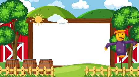Border template with farm in background illustration