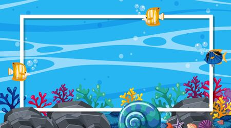 Frame design template with fish swimming in background illustration