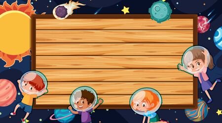Border template with space theme in background illustration  イラスト・ベクター素材