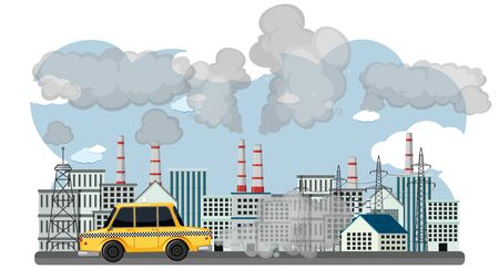 Scene with cars and factory buildings making dirty smoke in the city illustration Standard-Bild - 139183547