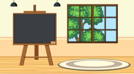 Background scene with small blackboard in the room illustration