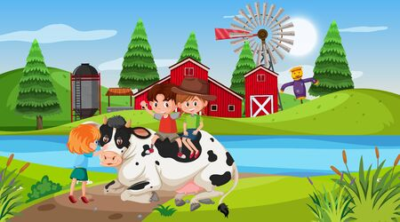 Farm scene with children and cow illustration