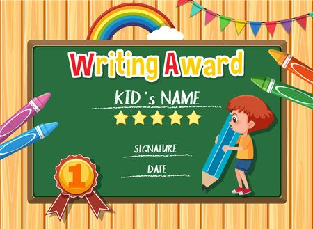 Certificate template for writing award with boy writing in background illustration
