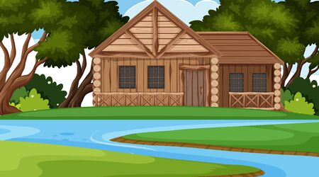 Scene with wooden cottage in the field illustration