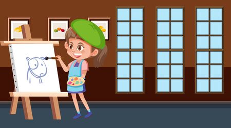 Scene with girl painting on canvas illustration  イラスト・ベクター素材