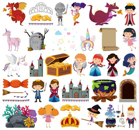 Set of isolated objects theme fairytale illustration  イラスト・ベクター素材